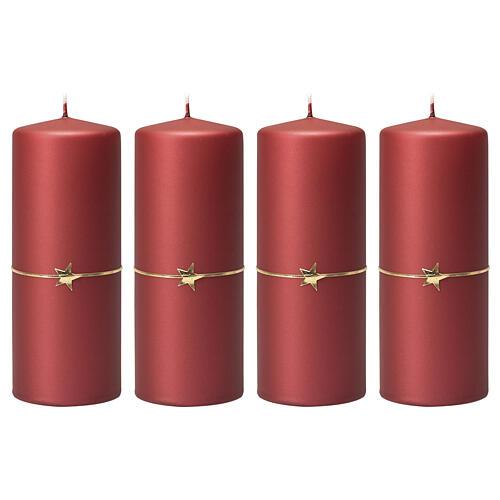 Matt red candles, set of 4, golden star, 150x60 mm 1