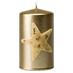 Golden Christmas candles, set of 4, glittery star, 100x60 mm s2