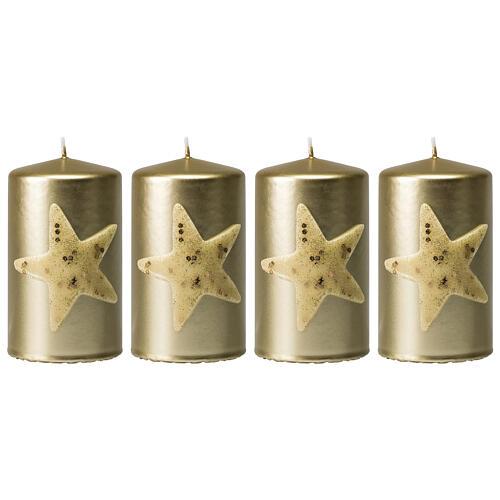 Golden Christmas candles, set of 4, glittery star, 100x60 mm 1