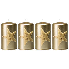 Christmas candles, set of 4, gold with glittery star, 150x70 mm s1