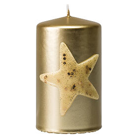 Christmas candles, set of 4, gold with glittery star, 150x70 mm s2