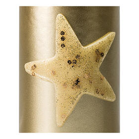Christmas candles, set of 4, gold with glittery star, 150x70 mm s3