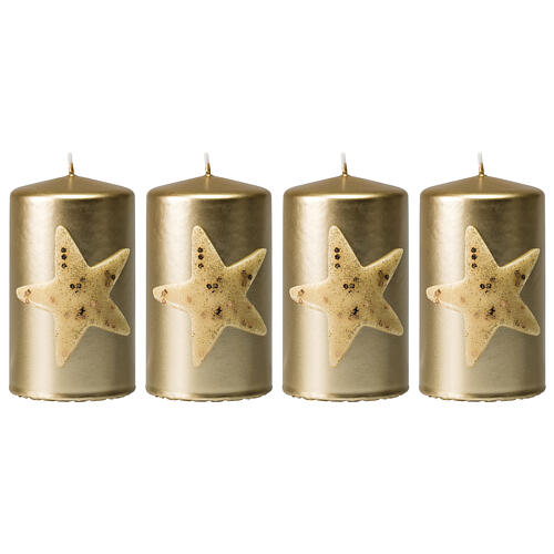 Christmas candles, set of 4, gold with glittery star, 150x70 mm 1