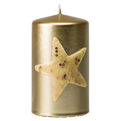 Christmas candles, set of 4, gold with glittery star, 150x70 mm 2