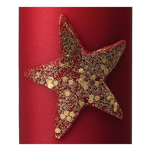 Christmas candle, matt red and glittery star, set of 4, 100x60 mm 3