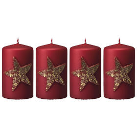 Red Christmas candles, set of 4, glittery golden star, 150x70 mm s1