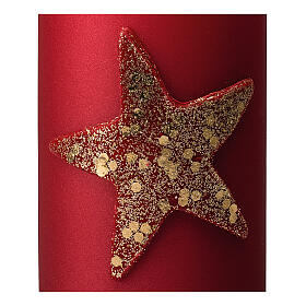 Red Christmas candles, set of 4, glittery golden star, 150x70 mm s3