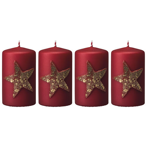 Red Christmas candles, set of 4, glittery golden star, 150x70 mm 1