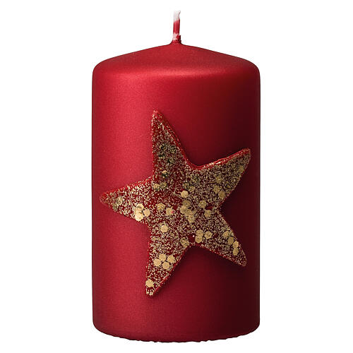 Red Christmas candles, set of 4, glittery golden star, 150x70 mm 2