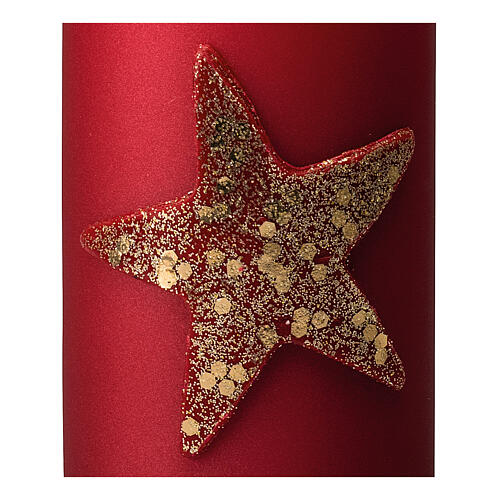 Red Christmas candles, set of 4, glittery golden star, 150x70 mm 3