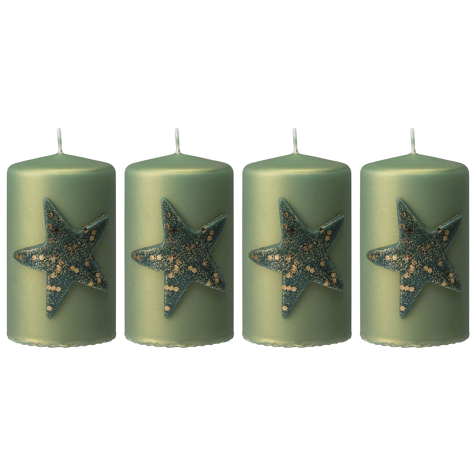 Green Christmas candles, set of 4, glittery star, 100x60 mm 3