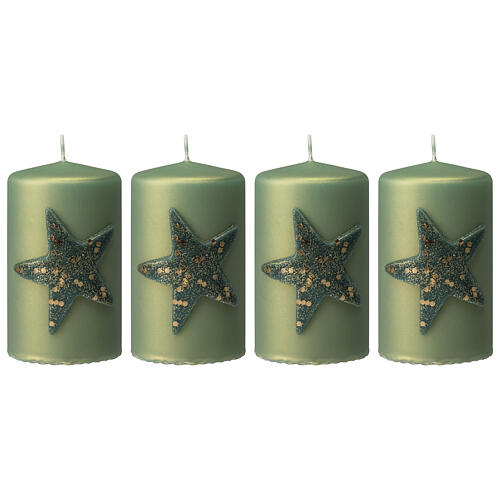 Green Christmas candles, set of 4, glittery star, 100x60 mm 1