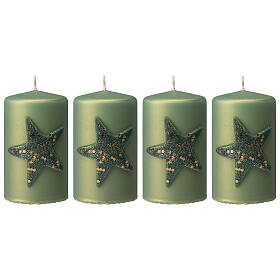 Christmas candles with glittery star, set of 4, matt green, 150x70 mm s1