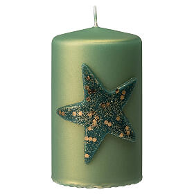 Christmas candles with glittery star, set of 4, matt green, 150x70 mm s2