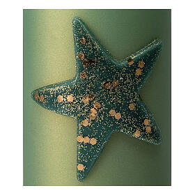 Christmas candles with glittery star, set of 4, matt green, 150x70 mm s3