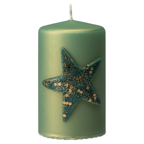 Christmas candles with glittery star, set of 4, matt green, 150x70 mm 2