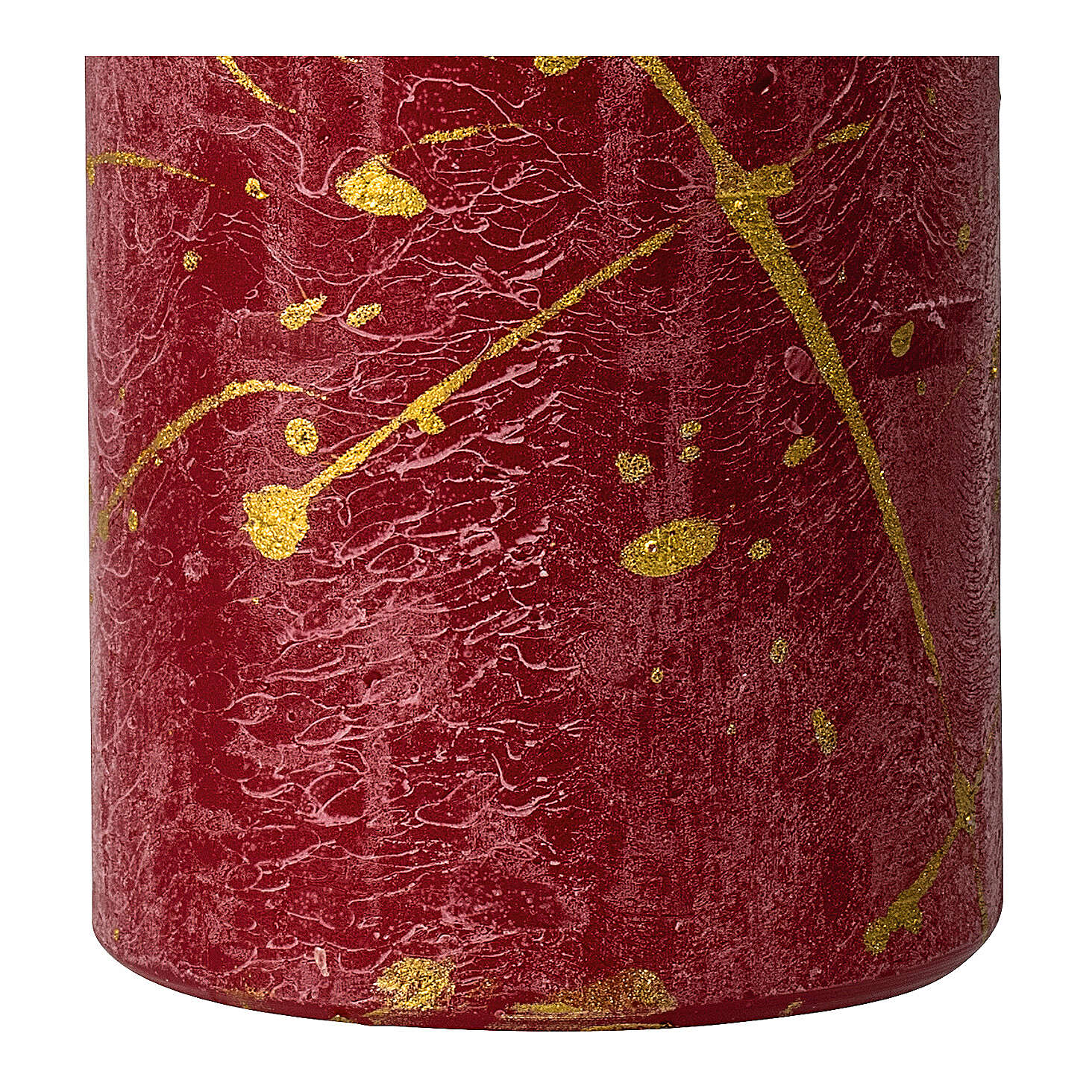 Red Christmas candles, golden drops, set of 4, 110x60 mm 3