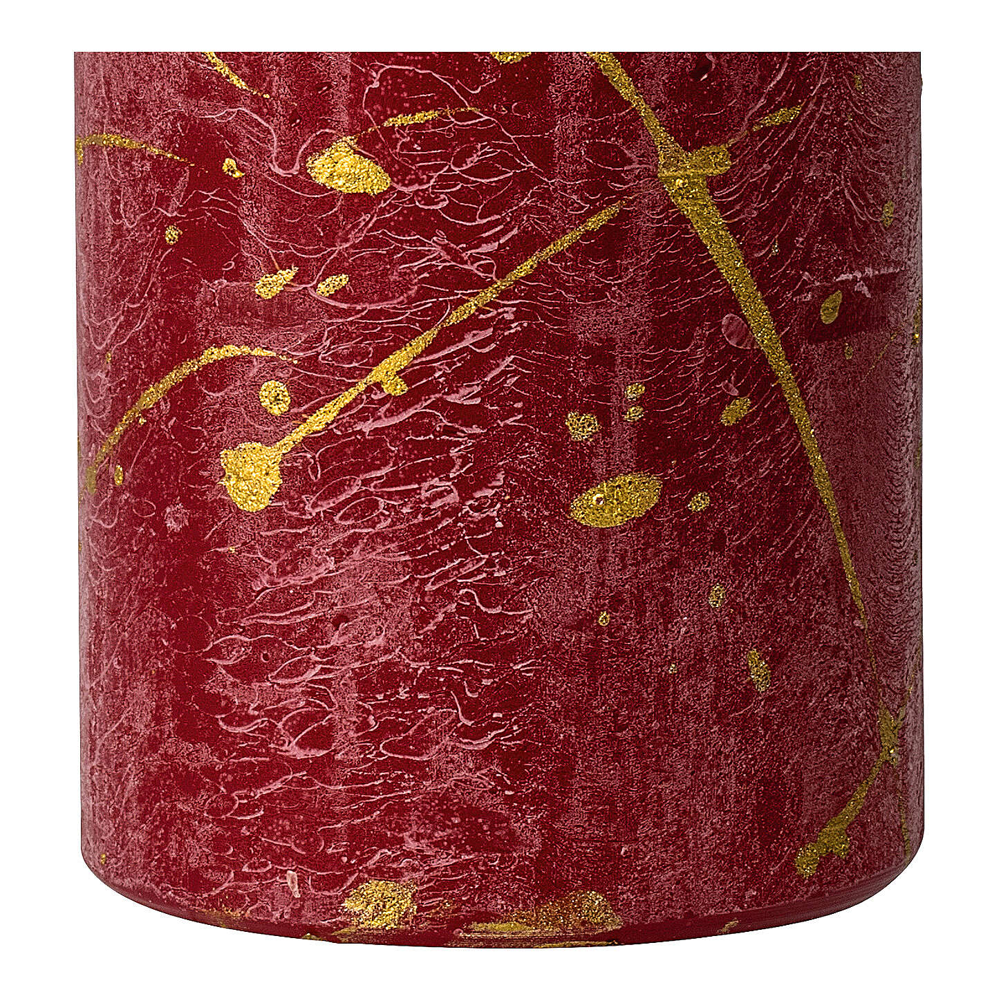 Christmas candles, red with golden drops, set of 4, 140x70 mm 3