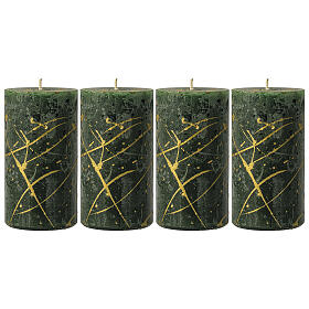 Christmas candles, green with golden drops, set of 4, 110x60 mm s1
