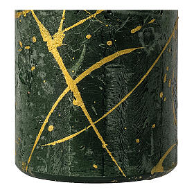 Christmas candles, green with golden drops, set of 4, 110x60 mm s3