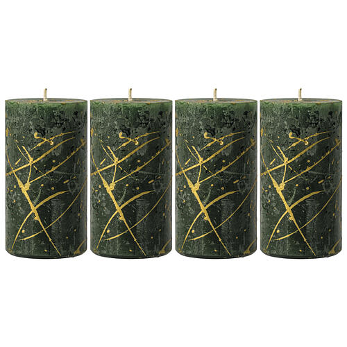 Christmas candles, green with golden drops, set of 4, 110x60 mm 1