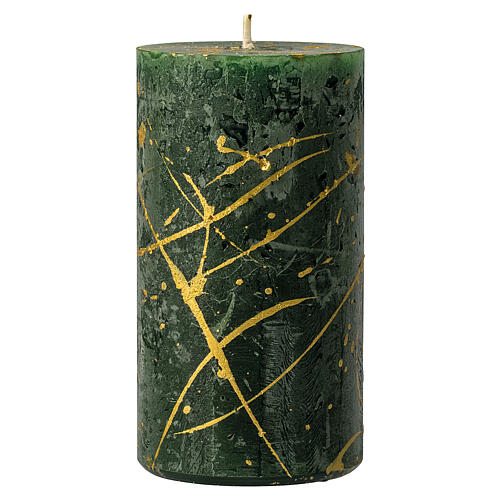 Christmas candles, green with golden drops, set of 4, 110x60 mm 2