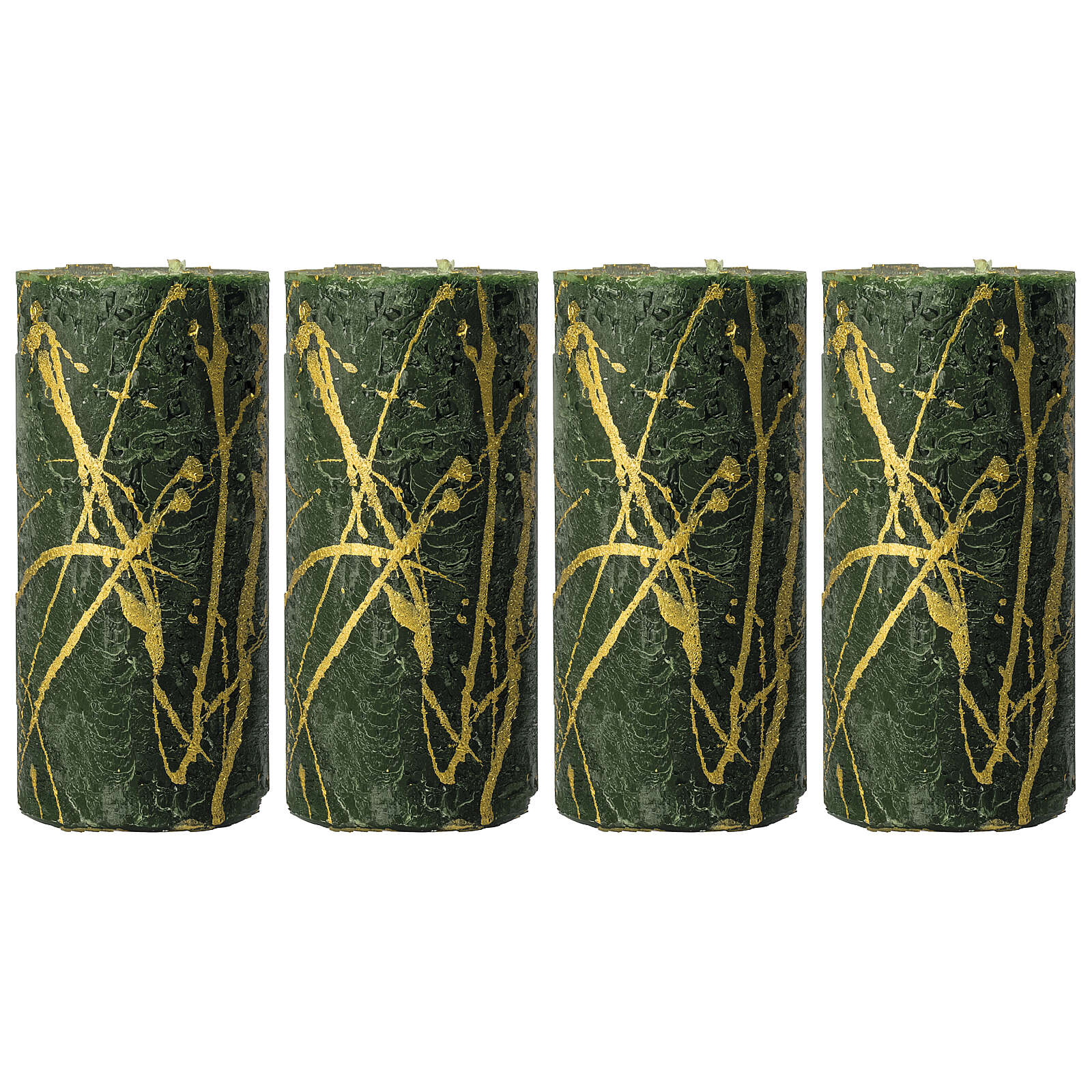 Green Christmas candles, golden drops, set of 4, 140x70 mm 3