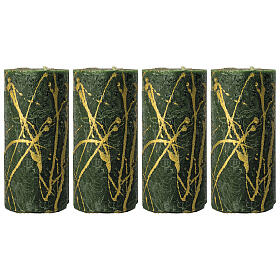 Green Christmas candles, golden drops, set of 4, 140x70 mm s1