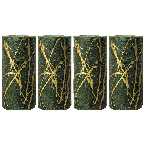 Green Christmas candles, golden drops, set of 4, 140x70 mm 1