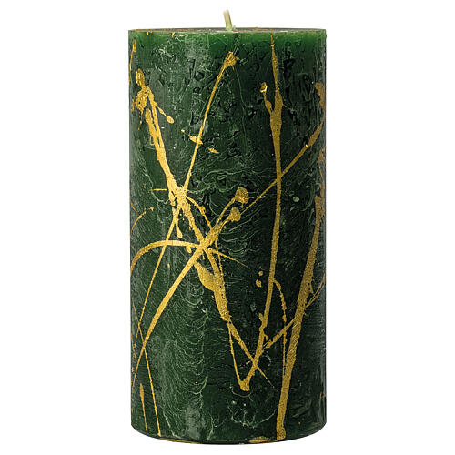Green Christmas candles, golden drops, set of 4, 140x70 mm 2