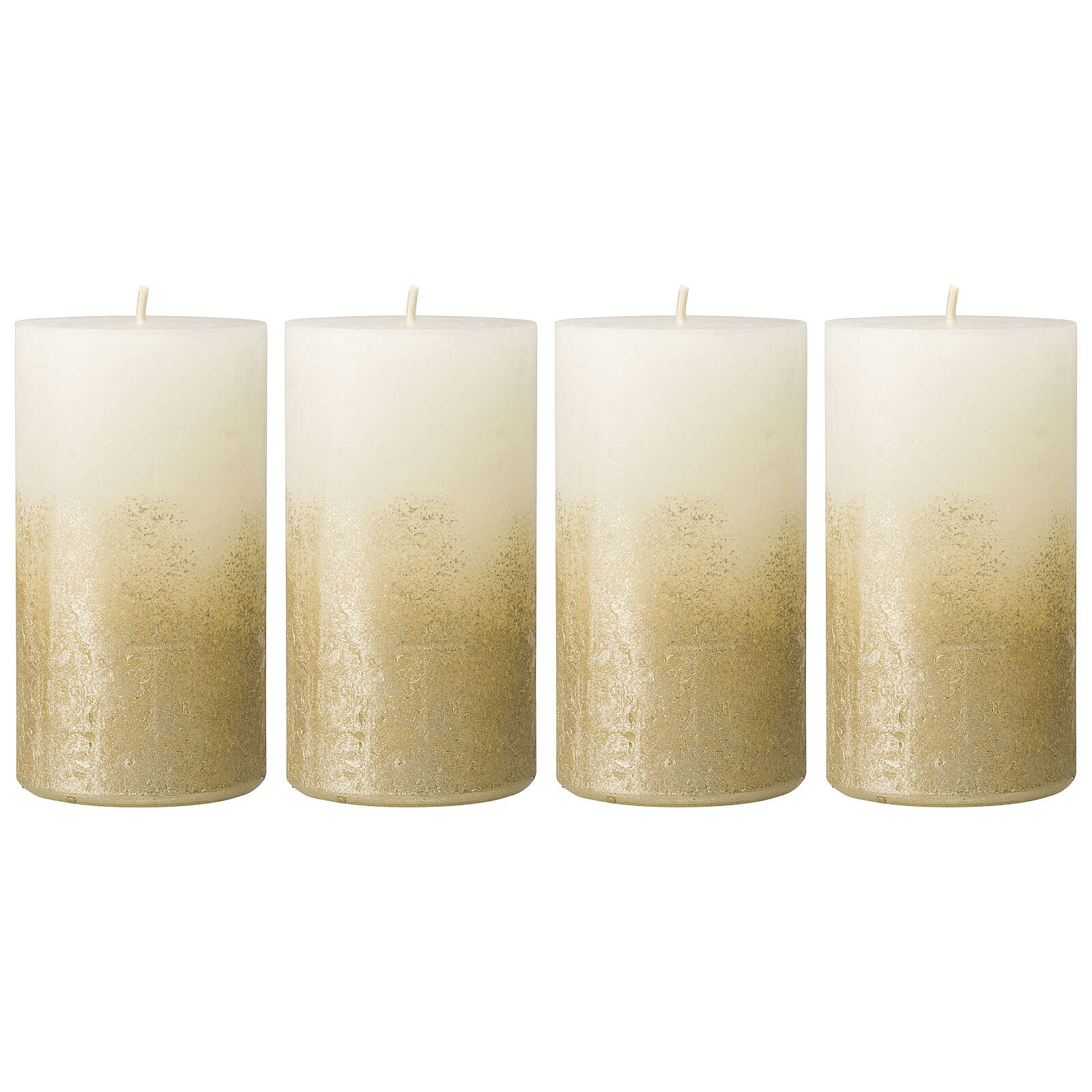 Christmas candles, white with golden base, 4 pieces, 110x60 mm 3