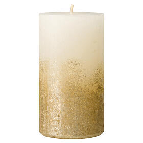 Christmas candles, white with golden base, 4 pieces, 110x60 mm s2