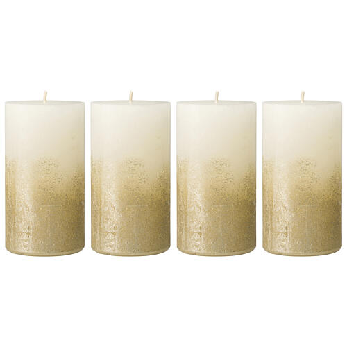 Christmas candles, white with golden base, 4 pieces, 110x60 mm 1