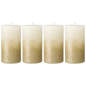 Christmas candles, white and gold, 4 pieces, 140x70 mm s1