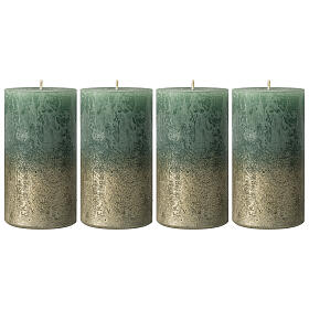 Christmas candles, green with golden base, 4 pieces, 110x60 mm s1
