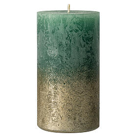 Christmas candles, green with golden base, 4 pieces, 110x60 mm s2