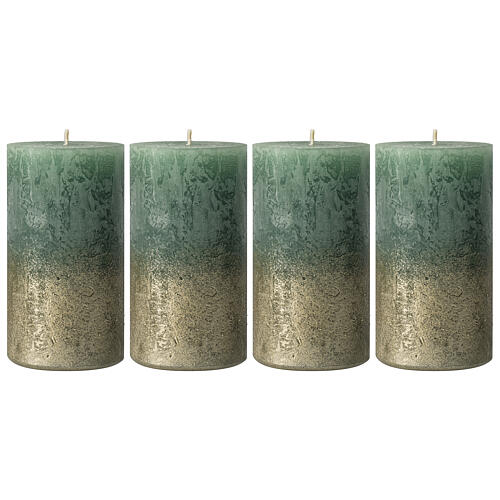 Christmas candles, green with golden base, 4 pieces, 110x60 mm 1