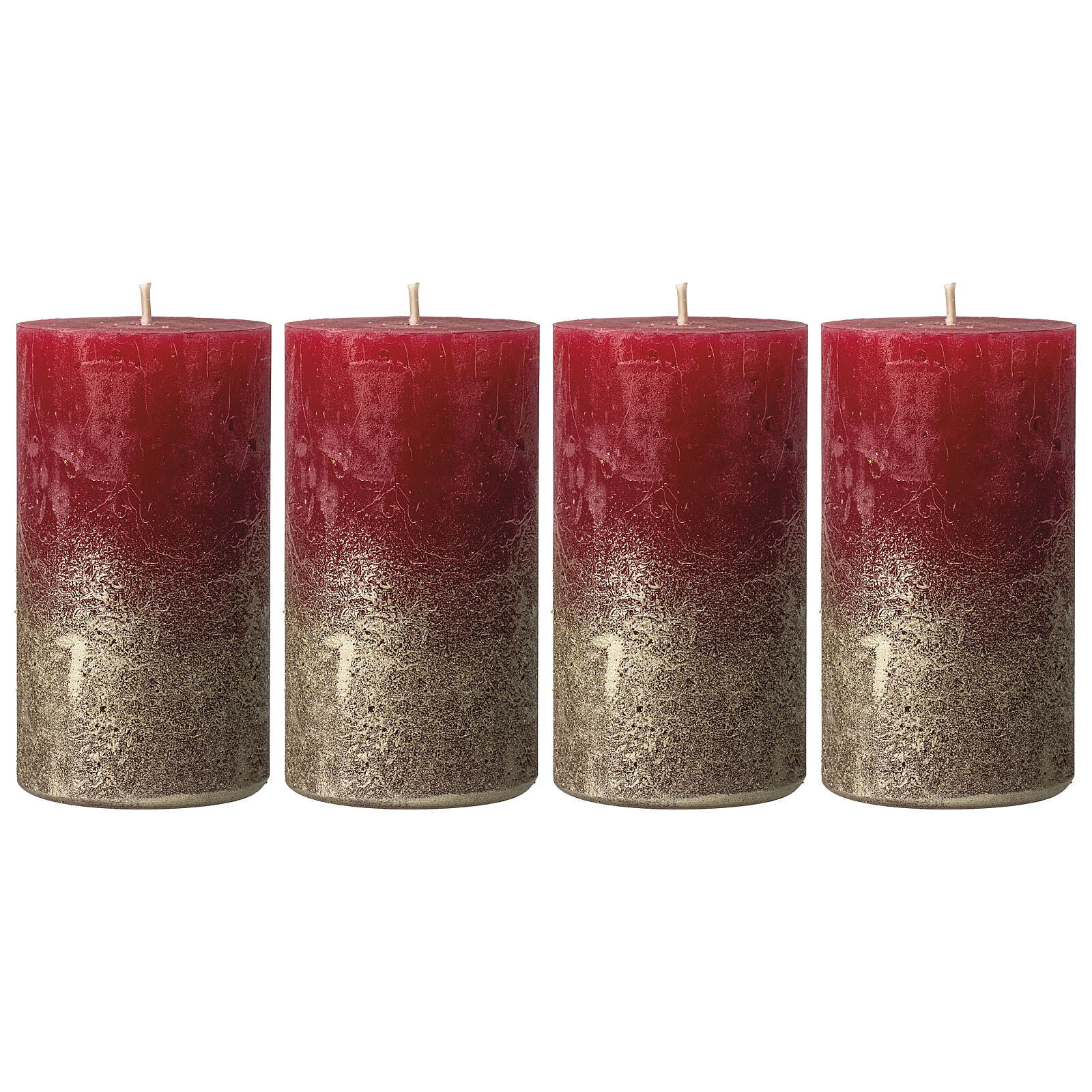 Christmas candles, deep red with golden base, 4 pieces, 110x60 mm 3