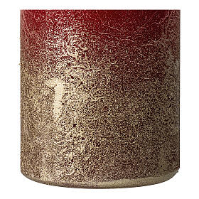 Christmas candles, matt red and gold, 4 pieces, 140x70 mm s3