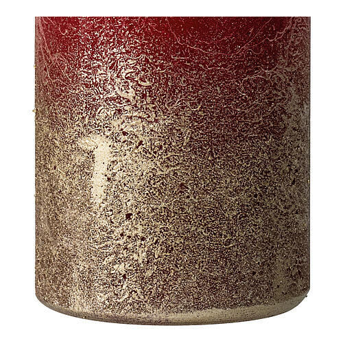 Christmas candles, matt red and gold, 4 pieces, 140x70 mm 3