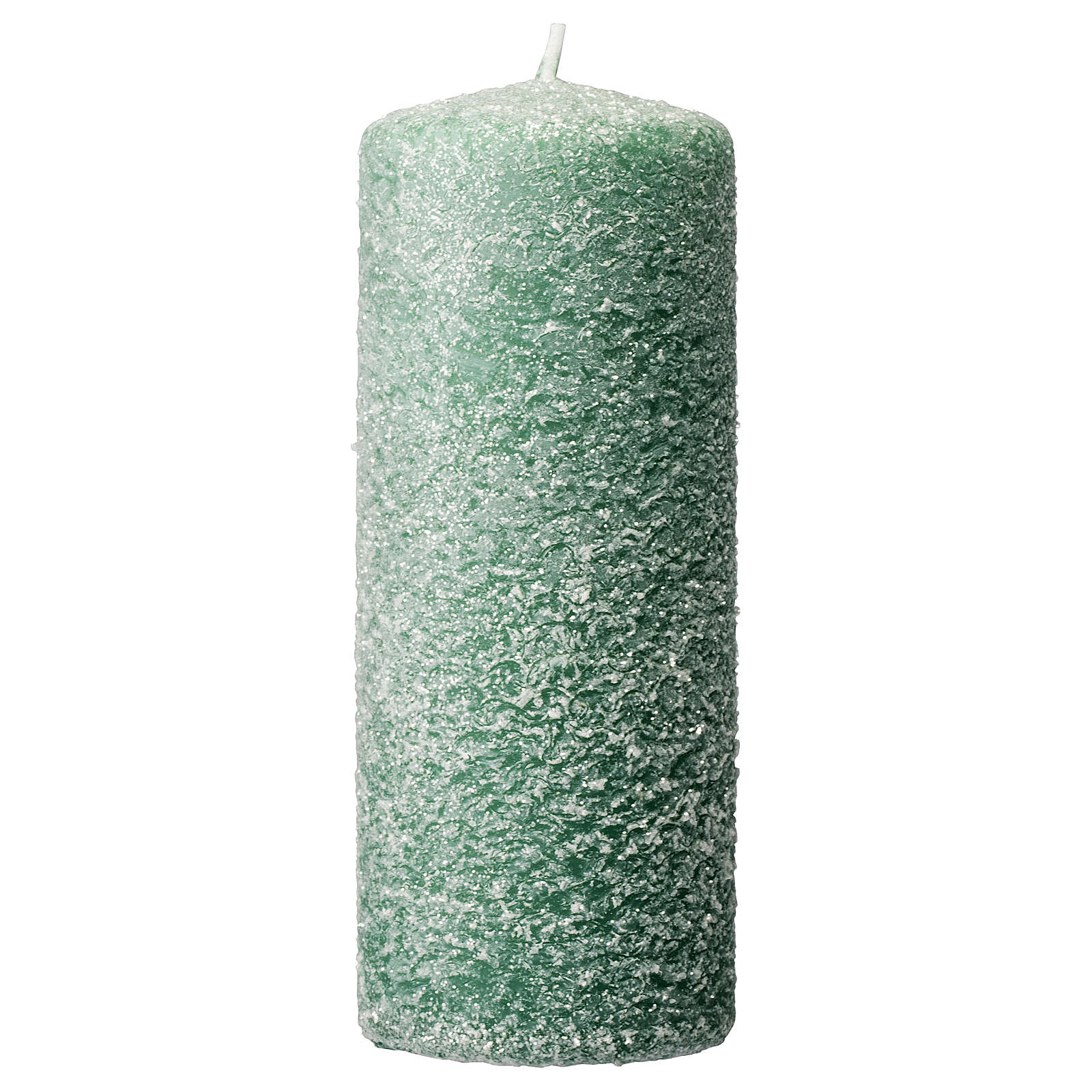 Green candles with snow flakes, Christmas set of 4, 120x50 mm 3