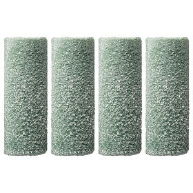 Green candles with snow flakes, Christmas set of 4, 120x50 mm s1