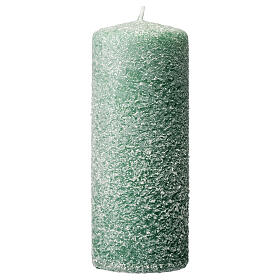 Green candles with snow flakes, Christmas set of 4, 120x50 mm s2