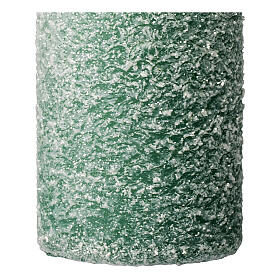 Green candles with snow flakes, Christmas set of 4, 120x50 mm s3
