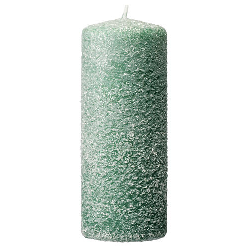 Green candles with snow flakes, Christmas set of 4, 120x50 mm 2