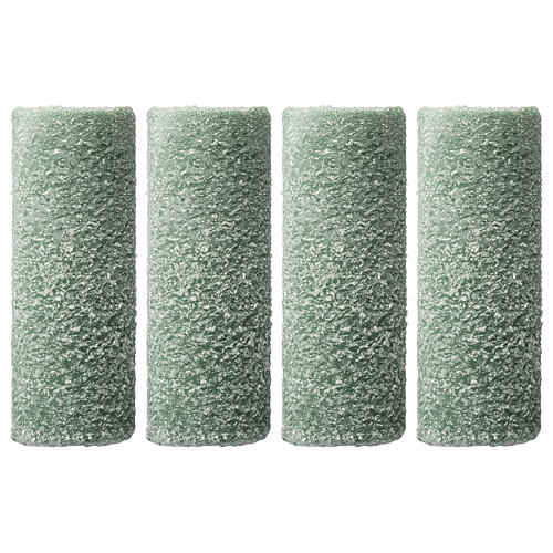 Green candles, snow flakes, Christmas set of 4, 150x60 mm 1