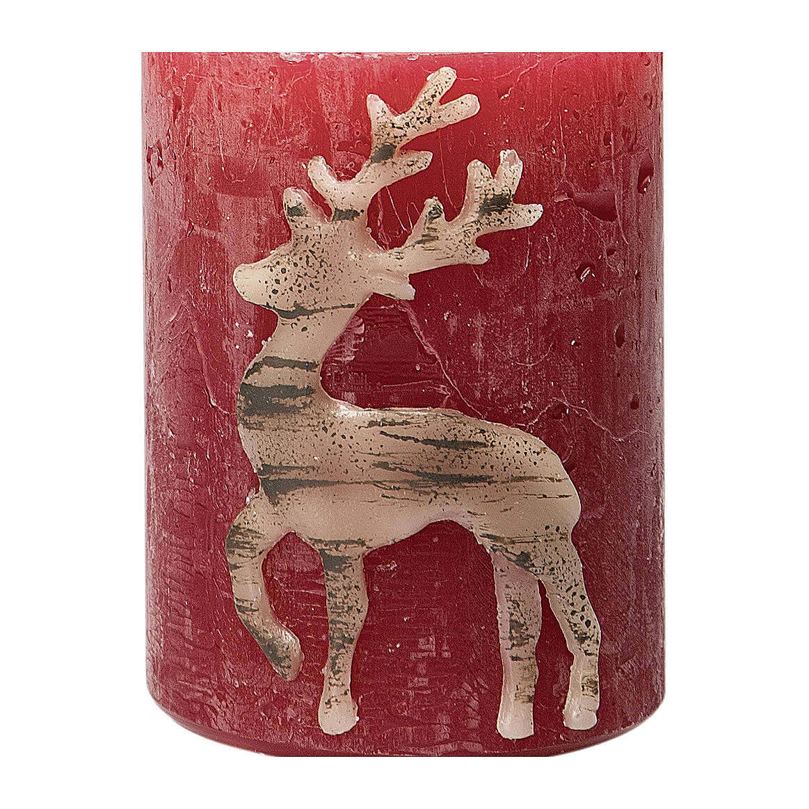 Red candles with beige reindeer, Christmas set of 4, 80x60 mm 3