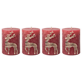 Red candles with beige reindeer, Christmas set of 4, 80x60 mm s1
