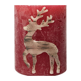 Red candles with beige reindeer, Christmas set of 4, 80x60 mm s3