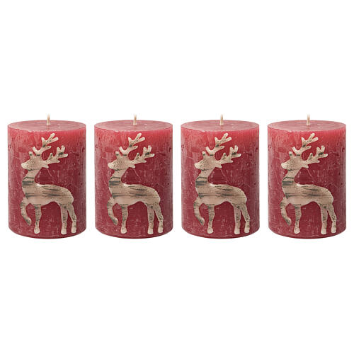 Red candles with beige reindeer, Christmas set of 4, 80x60 mm 1